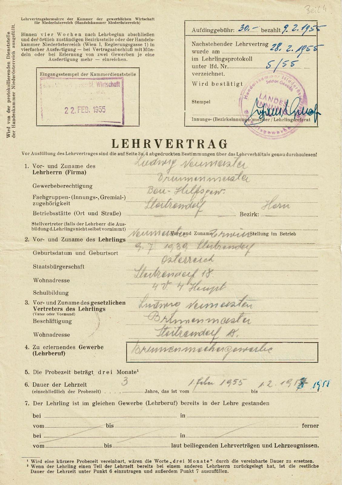 Lehrvertrag Erwin Neumeister – 3. Generation